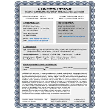 Alarm System Insurance Certificate - Save 20% on Insurance Premiums