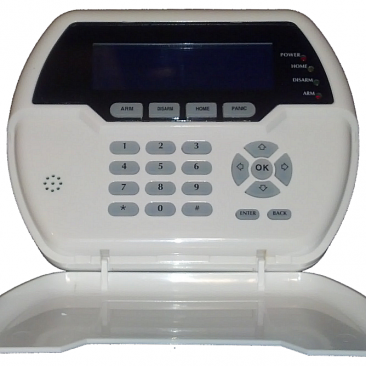 Wireless Backlit LCD 2-Way Communicating Keypad, Power Adapter, & Backup Battery