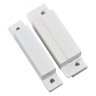 Wired Magnetic Contact Switch w/ Wire Cover for Doors and Windows (White Strip)
